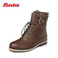 Bata/拔佳冬专柜同款啡色牛皮女靴60301DZ5