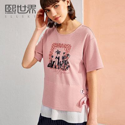 熙世界夏季2018新款拼接宽松t恤女印花短袖百搭体恤上衣112ST035