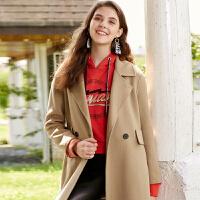 冬装新品 100%纯羊毛呢子大衣双面呢长外套女D746348D00