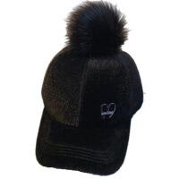 母女秋冬季保暖帽子女鸭舌帽女童百搭儿童毛球棒球帽亲子帽