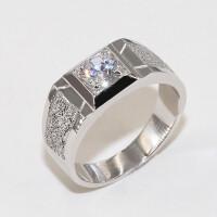 S925纯银男士钻戒磨砂镶钻大气戒指结婚镀白金霸气1克拉
