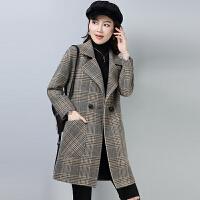 流行格子大衣双面羊绒女秋冬韩版矮个子中长款显瘦短毛呢外套