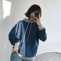 韩系女装新款原宿风bf秋季新款宽松假两件薄款连帽长袖卫衣外套女 均码
