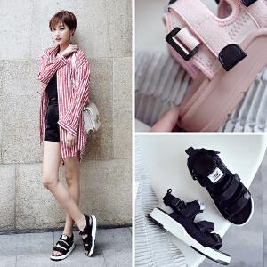ZHR2018夏季新款韩版运动凉鞋平底沙滩鞋厚底学生鞋子中跟女鞋潮AQ01