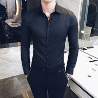 男士衬衫春秋新款休闲韩版衬衣青年修身型长袖纯色寸衫潮