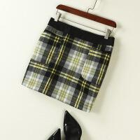 百搭包臀短裙一步裙韩版格子半身裙打底半身裙女