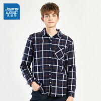 [5折秒杀价:65.9元,双十二提前购,仅限12.9-11]真维斯男装 冬季新款 格仔法兰绒短毛里长袖衬衫