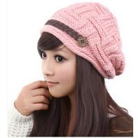 女士秋冬季新款韩版潮毛线保暖时尚米/粉/黑色针织帽子
