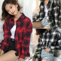 加肥加大码200斤胖MM春夏装韩版双口袋长袖衬衫女学生百搭衬衣