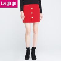 【6.29日限时秒杀价35】lagogo冬季女装新款包臀裙半身裙秋冬高腰短裙半裙