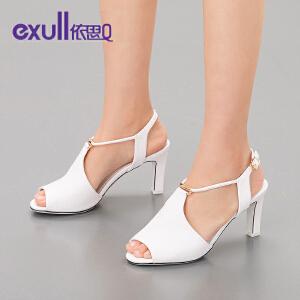 依思q夏新款凉鞋潮休闲纯色鱼嘴搭扣高跟粗跟女鞋子