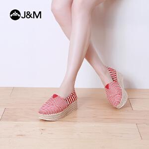 【低价秒杀】jm快乐玛丽夏季条纹坡跟增高厚底休闲鞋高帮套脚帆布鞋女鞋
