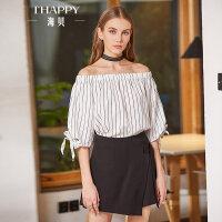 海贝2018春季新款女装 黑色系带不对称高腰休闲裤短裤