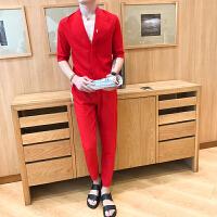 秋季亚麻套装男休闲九分裤一套时尚V领T精神小伙社会人潮流两件套