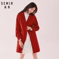 【3折价:179.7元,1.16-1.31过年不打烊!】森马毛呢外套女冬季时尚红色中长款外套流行大衣收腰保暖女装