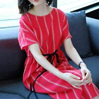 红色连衣裙2018夏装新款女装时尚收腰系带条纹真铜氨丝宽松中长裙