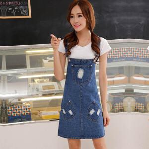 新款牛仔背带裙韩版学生牛仔吊带裙女装