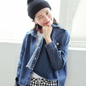 哆哆何伊实拍秋季新款韩版宽松牛仔外套女百搭长袖夹克