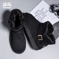 森马男士雪地靴男皮毛一体棉鞋男冬季保暖加绒棉靴男靴子男一脚蹬短靴