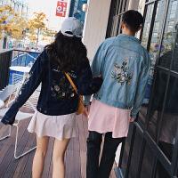 新款情侣牛仔夹克2018秋新韩版宽松花卉刺绣风水洗牛仔夹克男外套