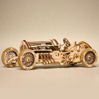 木质机械传动模型复古老爷车拼装玩具赛车