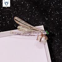韩版时尚夸张锆石水晶蜻蜓胸针女款西服胸花丝巾扣别针*物