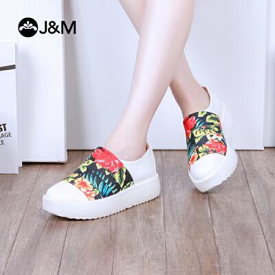 【低价秒杀】jm快乐玛丽春季新款平底舒适厚底套脚休闲乐福鞋女鞋子