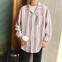 18春季日系条纹衬衫男简约衬衣潮流青年学生复古长袖休闲寸衫