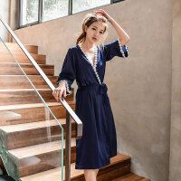 2018新款睡裙女夏冰丝仿真丝绸吊带可外穿家居服两件套装性感睡衣情调衣人 藏青色 1801 160(M) 105斤以内
