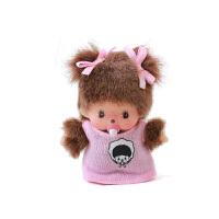 萌趣趣曾用名蒙奇奇 粉红色连衣裙女孩包包汽车毛绒挂件娃娃 褐色 8厘米