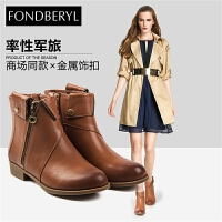 Fondberyl/菲伯丽尔冬季牛皮圆头金属低跟短靴女靴FB6411C117