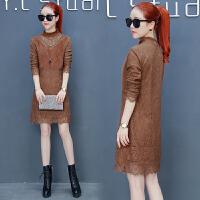 中长款蕾丝连衣裙女装2017韩版新款长袖加绒加厚半高领冬季裙子女