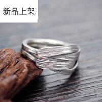2018抖音网红新品925银戒指 泰银首饰品民族风原创设计手工交错食指环