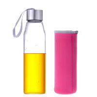 普�� 550ML耐�岵A�水瓶 ��意��d玻璃杯子�V泉水瓶���w茶杯PRB15 杯套�色�S�C