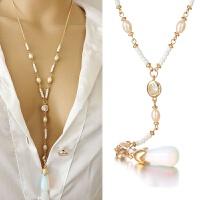 欧美时尚长款月光石珍珠吊坠项链锁骨链女韩国服装配饰项链 图片色 月光项链