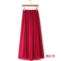 高腰显瘦半身长裙夏女雪纺波西米亚休闲裙子纯色半身裙沙滩中长款