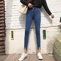 韩版高腰显瘦弹力学生毛边开叉小脚裤春装女高腰显瘦牛仔裤铅笔裤