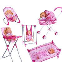 20180528024739262女孩过家家小推车带娃娃套装仿真女童婴儿宝宝玩具超市购物车 五合一全套+小莉公主 送3