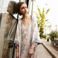 PJM春夏季新品睡袍女性感撞色印花落肩八分袖舒适睡衣家居服浴袍 图色