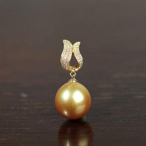 14k金镶嵌南洋金珍珠项坠