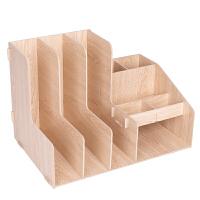 资料整理架办公文具格子带笔筒文件框木质组合收纳盒