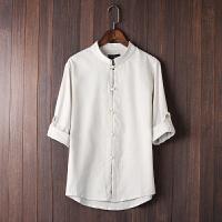 中国风唐装夏季中式盘扣立领七分袖亚麻衬衫男士大码棉麻短袖上衣