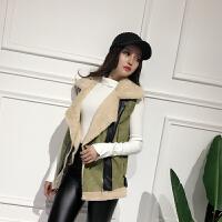 秋季新款韩版鹿皮绒拼接仿兔毛马甲女皮毛一体夹克外套