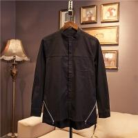 日系休闲衬衫男士立领长袖韩版修身潮流帅气青少年衬衣秋季白色
