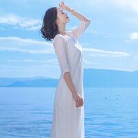 连衣裙女士夏季新款女装两件套宽松白色文艺波西米亚长裙度假沙滩裙 白色