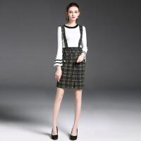 秋装新款女背带裙时尚喇叭袖长袖连衣裙两件套装格子短裙