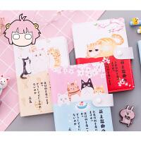 猫咪可爱卡通呆萌家族计划彩页本随身本创意笔记本文具日记记事本 款式随机