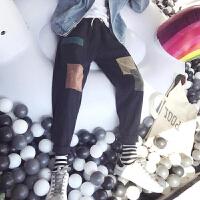 男士休闲裤男春季2018新款韩版补丁乞丐裤修身潮流百搭黑色裤子男