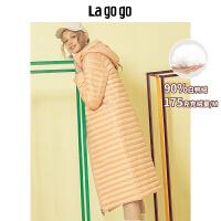 【年终狂欢节两件四折/叠满200-10优惠�弧�Lagogo2019年冬季新款时尚保暖外套甜美中长款羽绒服女HCYY31