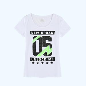 特步女运动T恤轻薄透气圆领字母印花时尚潮流休闲短袖T恤衫883228019337
